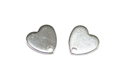 Stainless Steel Heart Ear Stud 8x8mm - 4pcs
