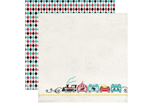 Double-Sided Patterned Paper Circus Train Carta Bella 30x30cm 1sheet