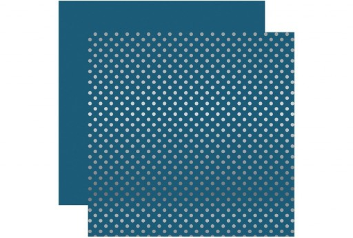 Carta Decorata Silver Foil Dot Medium Blue Echo Park Paper Co. 30x30cm 1pz.