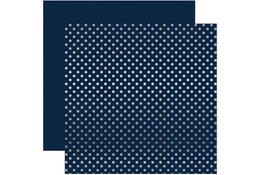 Carta Decorata Silver Foil Dot Dark Blue Echo Park Paper Co. 30x30cm 1pz.