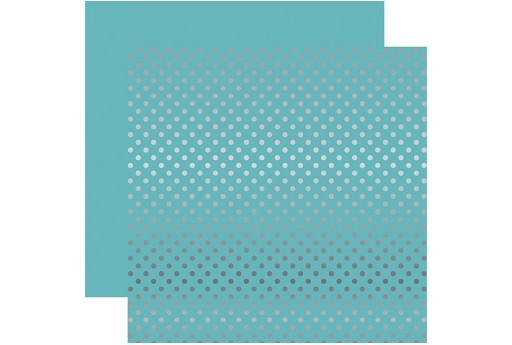 Carta Decorata Silver Foil Dot Light  Blue Echo Park Paper Co. 30x30cm 1pz.