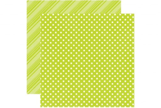 Double-Sided Patterned Paper Lime Dots and Stripes Echo Park Paper Co. 30x30cm 1sheet