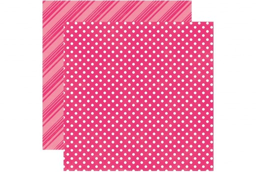 Carta Decorata Hot Pink Dots and Stripes Echo Park Paper Co. 30x30cm 1pz.