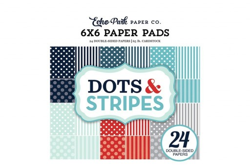 Set di Carte Decorate Winter Dots and Stripes Paper Pad Echo Park Paper Co. 15x15cm 24pz