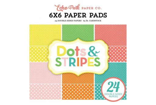 Set di Carte Decorate Summer Dots and Stripes Paper Pad Echo Park Paper Co. 15x15cm 24pz