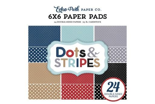Set di Carte Decorate Travel Dots and Stripes Paper Pad Echo Park Paper Co. 15x15cm 24pz