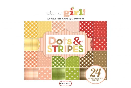 Set di Carte Decorate It's A Girl Dots and Stripes Paper Pad Carta Bella 15x15cm 24pz