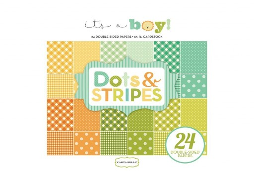 Set di Carte Decorate It's A Boy Dots and Stripes Paper Pad Carta Bella 15x15cm 24pz