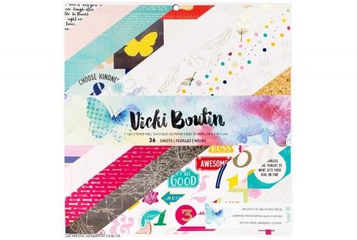 Set di Carte Decorate Mediums Paper Pad by Vicki Boutin American Crafts 30x30cm 36pz
