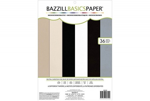 Cardstock Paper Pad Bazzill Mono Neutral Colors 30x30cm 36 sheets