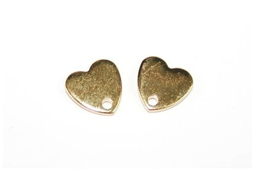 Stainless Steel Heart Ear Stud Gold 8x8mm - 2pcs