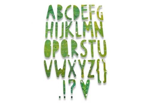 Fustella Thinlits Alfabeto Effetto Ritaglio di Carta Sizzix