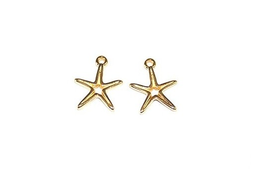 Starfish Wireframe Pendant Gold 14x16mm -2pcs
