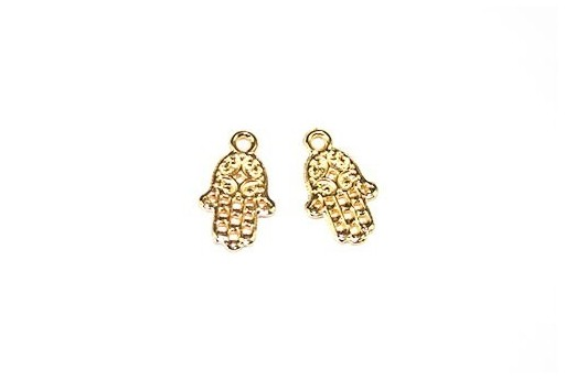 Hamsa Hand Pendant Gold 9x15mm  - 4pcs
