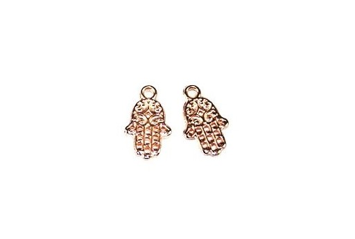 Hamsa Hand Pendant Rose Gold 9x15mm  - 4pcs