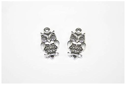 Owl Pendant Silver 11x19mm  - 2pcs