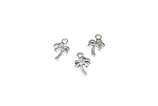 Palm Pendant Silver 8x11mm  - 4pcs