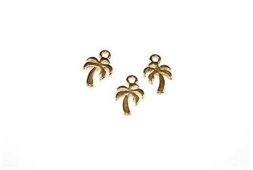 Palm Pendant Gold 8x11mm  - 4pcs