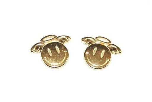 Gold Smiley Face With Angel Pendant 19x15mm  - 2pcs