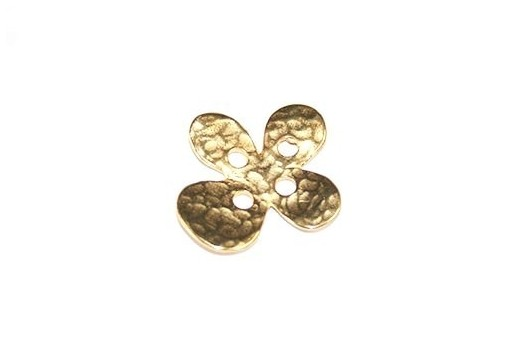 Hammered Metal Component Gold Button Flower 20X22mm  - 1pcs