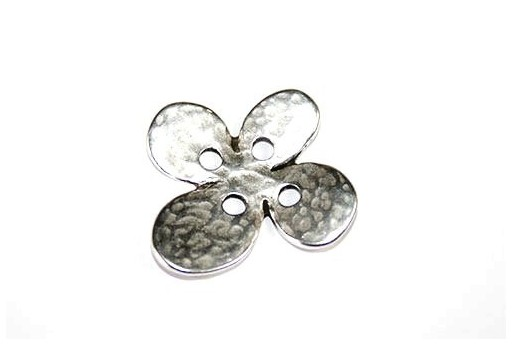 Hammered Metal Component Silver Button Flower 24X28mm  - 1pcs