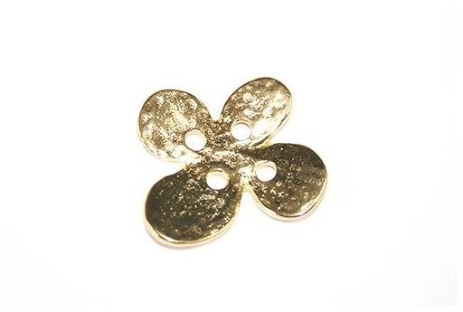 Hammered Metal Component Gold Button Flower 24X28mm  - 1pcs