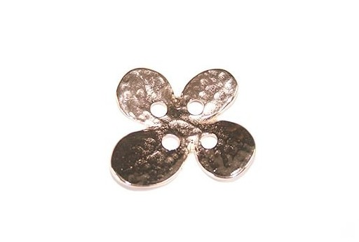Hammered Metal Component Rose Gold Button Flower 24X28mm  - 1pcs