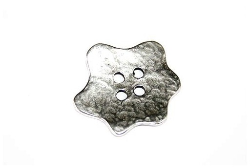 Hammered Metal Component Silver Button Star 29x31mm  - 1pcs