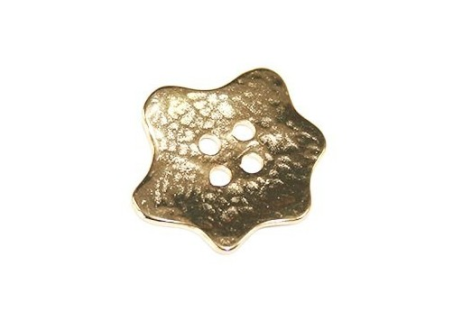 Hammered Metal Component Gold Button Star 29x31mm  - 1pcs