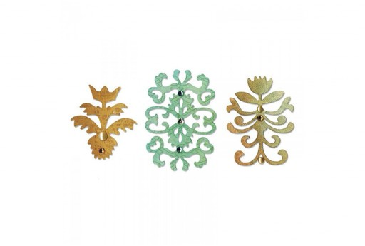 Fustelle Sizzlits Set Floral Insigna Sizzix 3pz