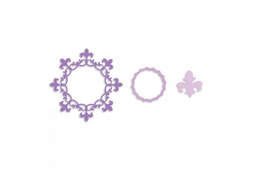 Framelits Dies Frame Circle with Fleur de Lis Edging Sizzix