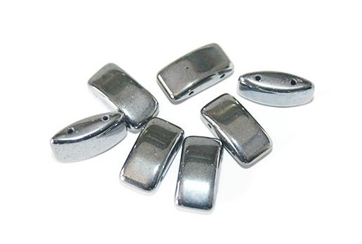 Czech Glass Beads Carrier Jet Hematite 17x9mm - 10pcs