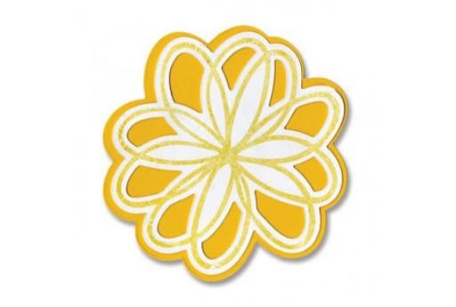 Framelits Dies + Coordinate Stamps Flowers Doodle Sizzix