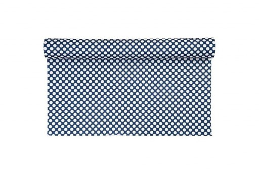Patterned Soft Felt 1,5mm White Dots on Blue 45cm x 1mt