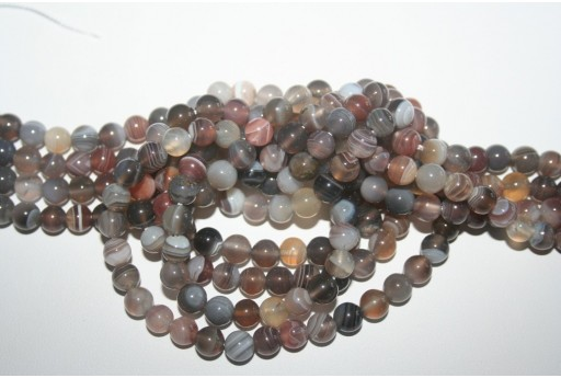 Botswana Agate Beads Grey Sphere 6mm - 64pz