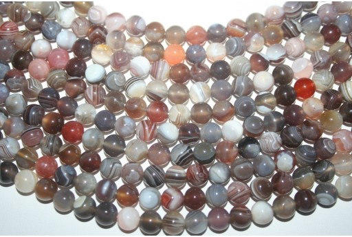 Botswana Agate Beads Grey Sphere 8mm - 48pz
