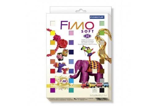 Kit Fimo Soft 24 colori + 4 Stampi metallo