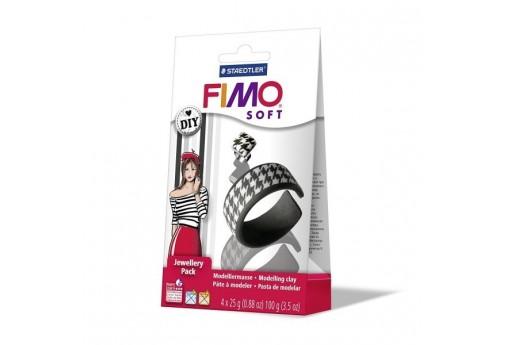 Kit Fimo Soft Jewellery Pack Bracciale e Anello Bianco e Nero