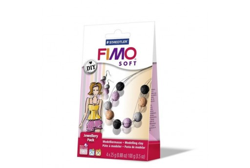 Kit Fimo Soft Jewellery Pack Collana e Orecchini con Perle Colorate