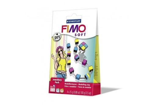 Kit Fimo Soft Jewellery Pack Collana e Anello Quadrati Colorati