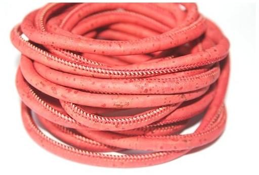 Cordoncino di Sughero Tondo Rosso 5mm - 50cm