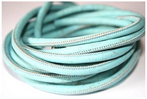 Cork Cord Light Blue 5mm - 50cm