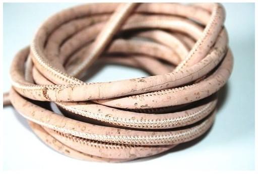 Cordoncino di Sughero Tondo Rosa 5mm - 50cm