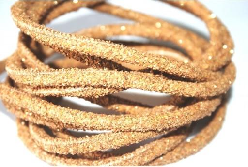 Cordoncino di Sughero Tondo Naturale Glitter 5mm - 50cm