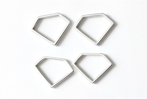 Componente Metallo Argento Forma Geometrica Diamante 19x14mm - 2pz