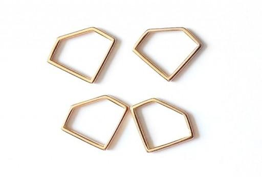 Componente Metallo Oro Rosa Forma Geometrica Diamante 19x14mm - 2pz
