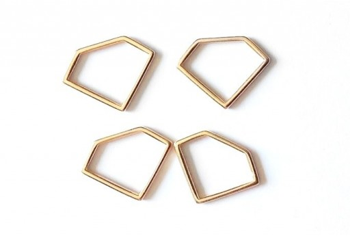 Diamond Wireframe Rose Gold 19x14mm - 2pcs