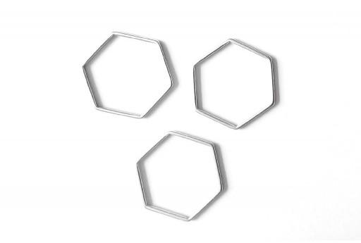 Componente Metallo Argento Forma Geometrica Esagono 29x26mm - 1pz