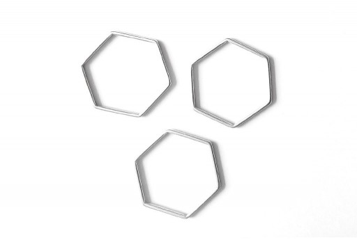 Hexagon Wireframe Silver 29x26mm - 1pcs