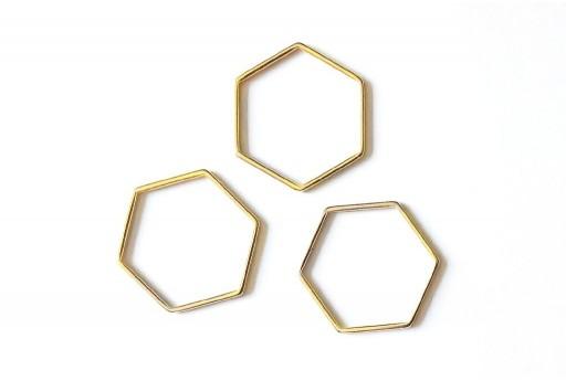 Componente Metallo Oro Forma Geometrica Esagono 29x26mm - 1pz